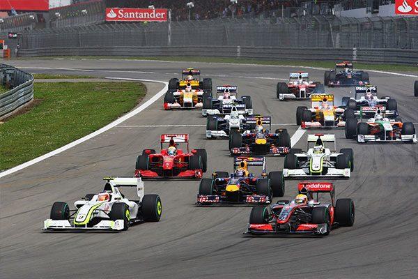 Hamilton a 2009-es Német nagydíj rajtját követően